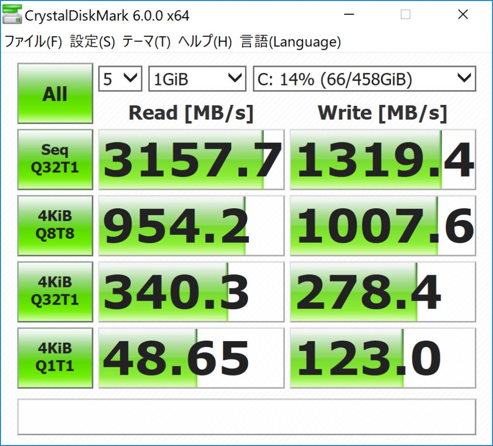 SSD転送速度のスピードキャプチャ