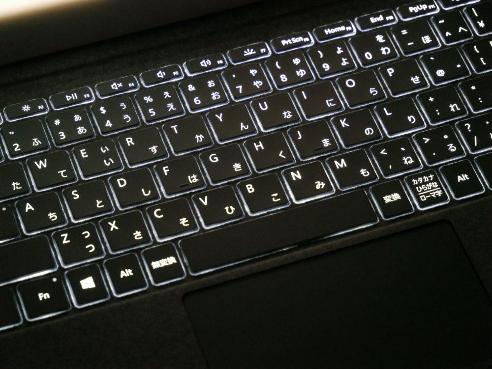 Surface Go用タイプカバーのバックライト