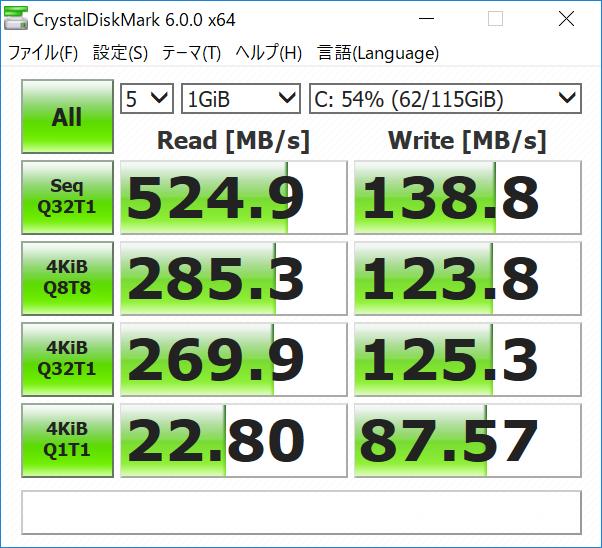 富士通 LIFEBOOK WU2/C2 SSDのデータ転送速度