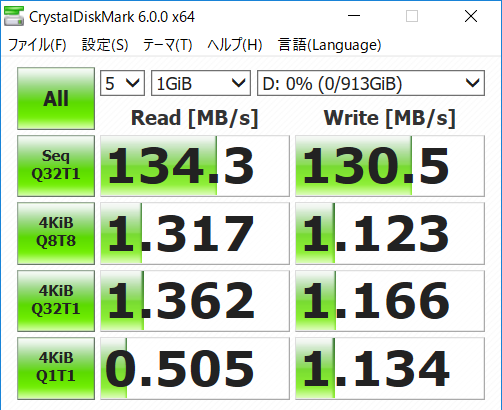 HDD転送速度のスピードのキャプチャ