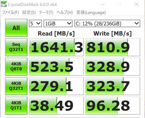 SSDの転送速度の結果
