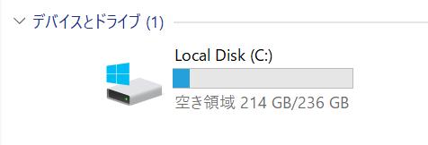 SSDの空き容量