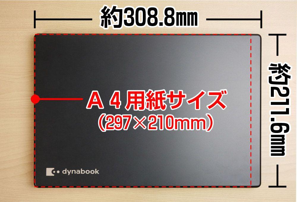 A4用紙とGZ83/Jの大きさの比較