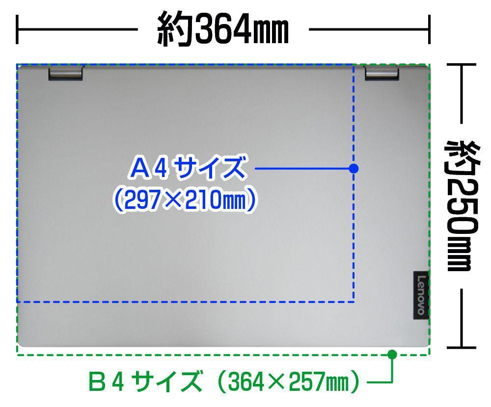 A4・B4用紙とIdeaPad C340 (15)の大きさの比較