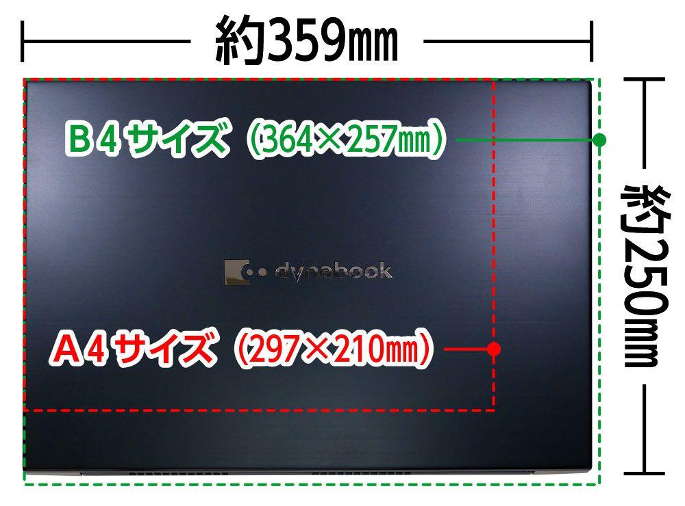 B4用紙とA4用紙とZZ75/Lの大きさの比較