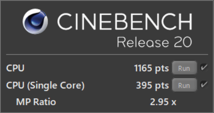 CINEBENCH R20 test results