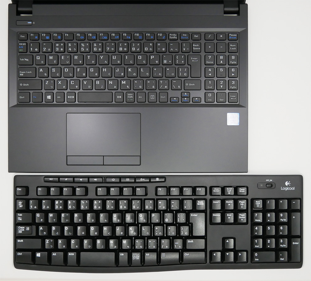 Comparison with desktop PC keyboard