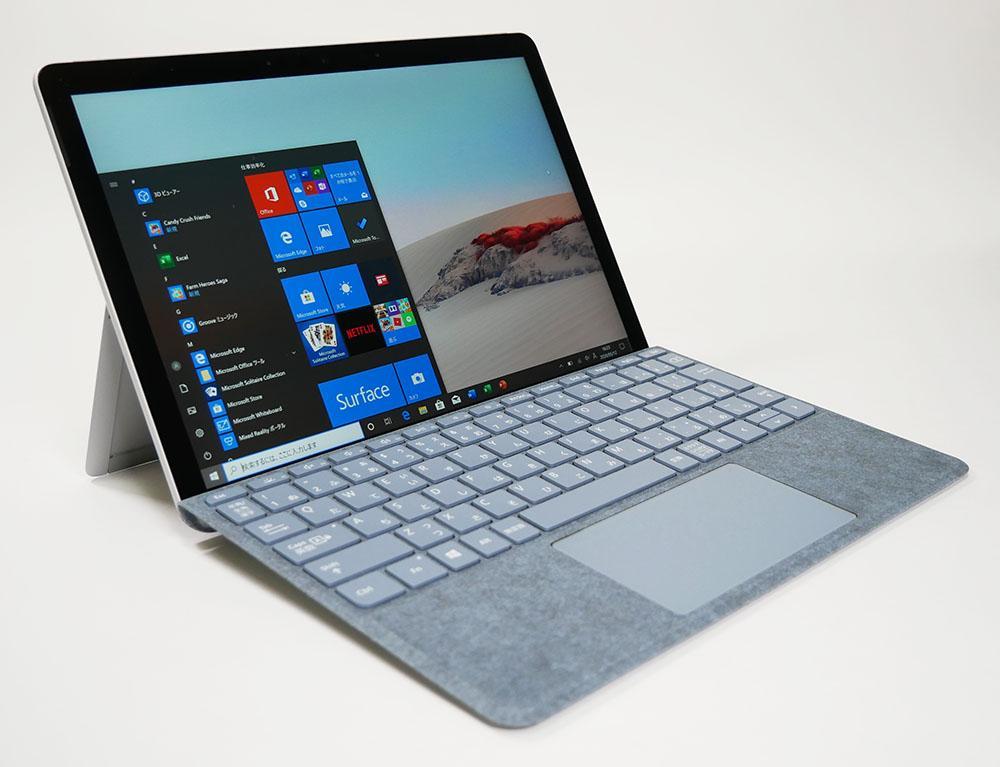 マイクロソフト Surface Go 2の外観。斜め上からのカッコいいアングル
