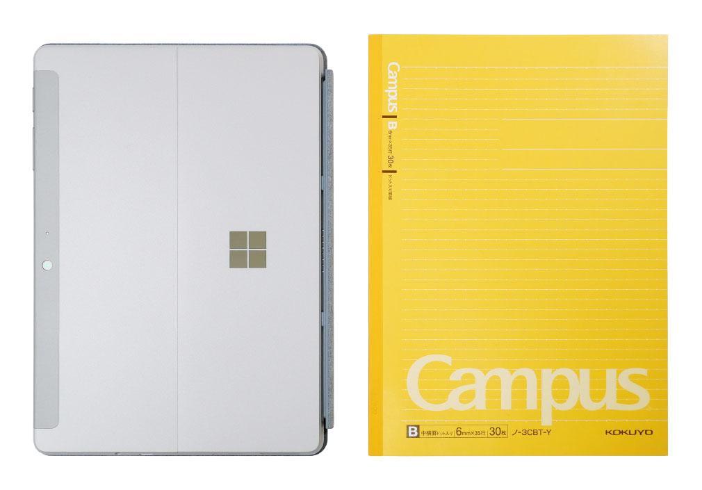 セミB5ノート(大学ノート)とSurface Go 2の大きさの比較