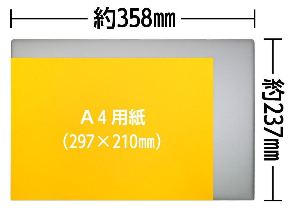 A4用紙とHP ENVY 15の大きさの比較
