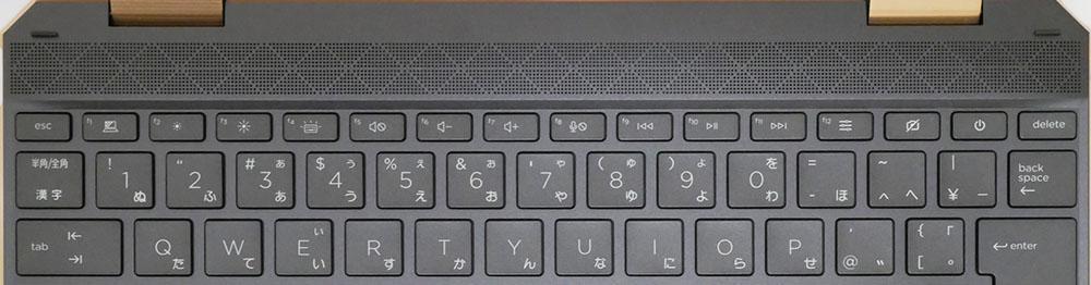 HP Spectre x360 14のキーボードのFキー周辺