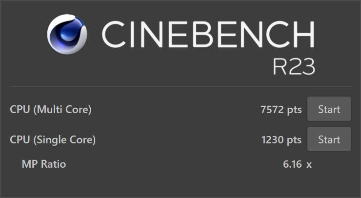 CINEBENCH R23 test results