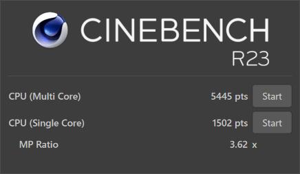 CINEBENCH R23のテスト結果