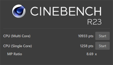 CINEBENCH R20のテスト結果