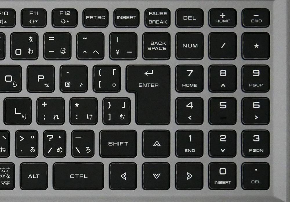 キーボードの右側像